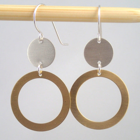 "Silver and Brass ""satellite"" earrings"