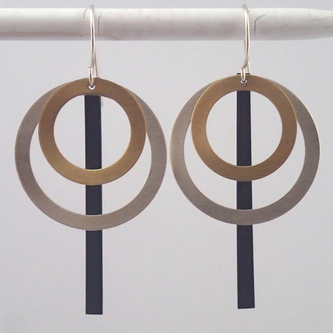 Spirograph Earrings in Mixed Metals
