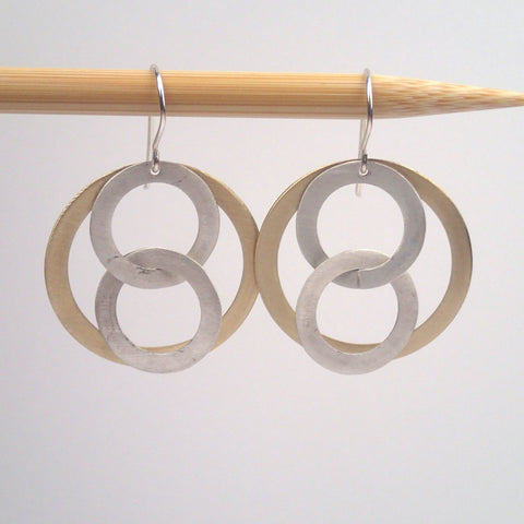 Silver and Brass Super 8 earrings