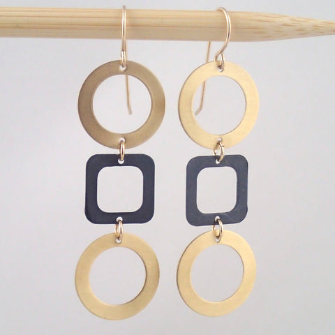 Tic Tac Toe Earrings in Brass and Oxidized Silver