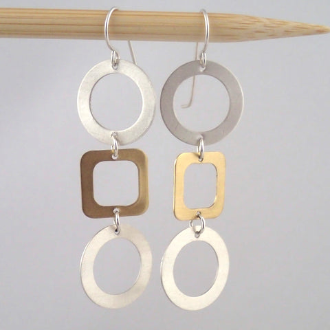 Tic Tac Toe Earrings in Silver and Brass
