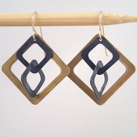 Brass and Oxidized Windowpane earrings