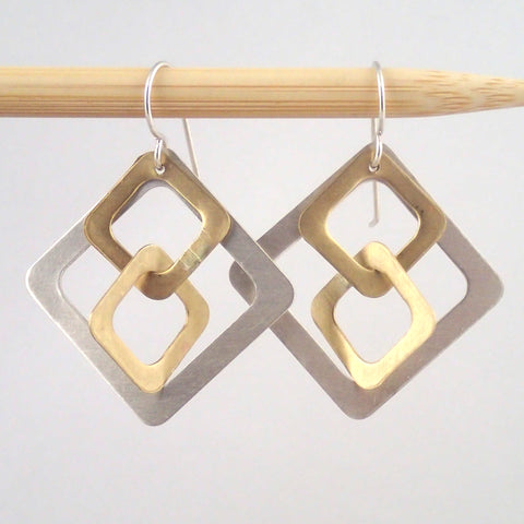 Silver and Brass Windowpane earrings