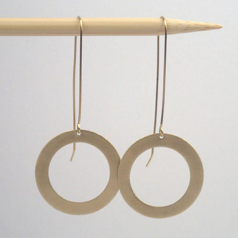 Large brass one ring earrings