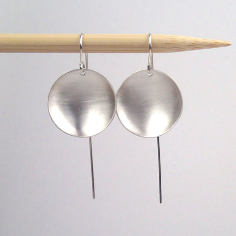"small silver ""saucer"" earrings"