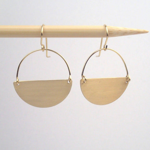 Brass semi circle earrings