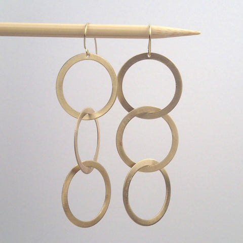 Large Brass Triplet earrings