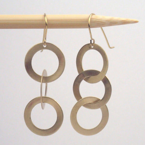 Small Brass Triplet earrings