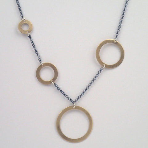 Brass Four Rings Necklace