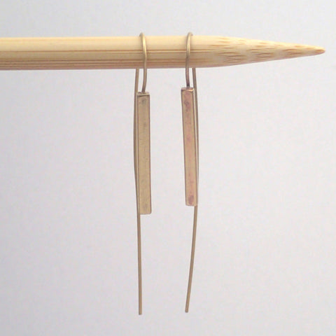 Brass bar threader earrings