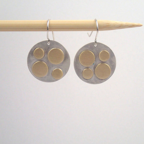 Silver and Brass scattered dots earrings