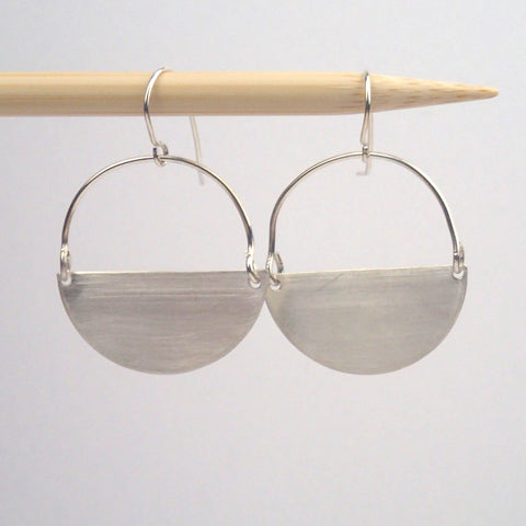 silver semi circle earrings