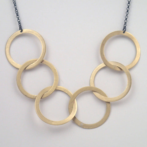 Brass Six Rings Necklace