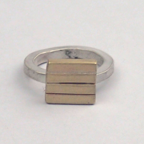 Brass and Silver Four Bar Ring