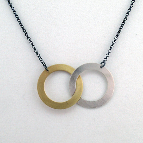 Two Rings Necklace in Silver and Brass