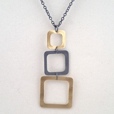 Three Square Necklace in Brass and Oxidized Silver