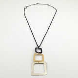 Three Square Necklace in Mixed Metals