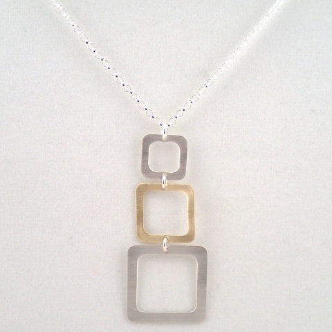 Three Square Necklace in Silver and Brass