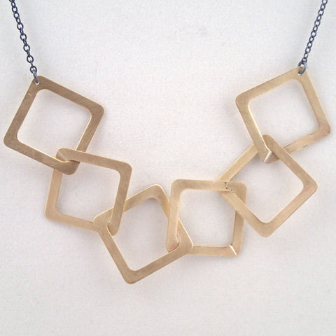 Brass Six Diamonds Necklace
