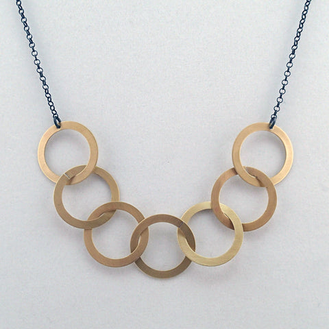 Brass Seven Rings Necklace