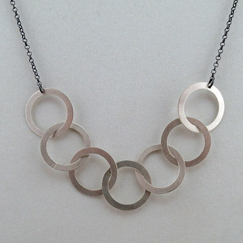 Silver Seven Rings Necklace