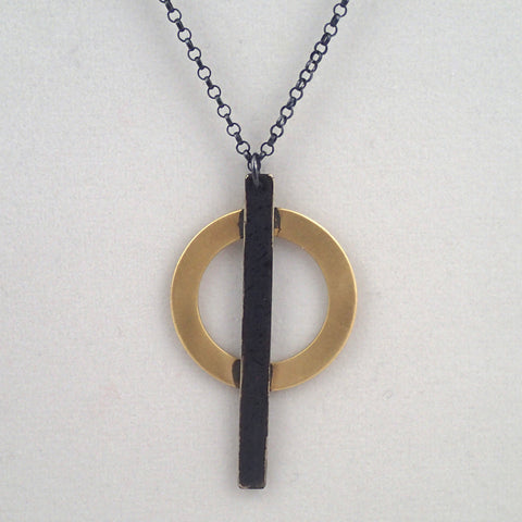 Ring and Bar Necklace in Brass and Oxidized Silver