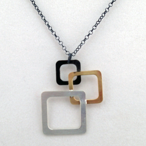 Floating Squares Necklace in Mixed Metals