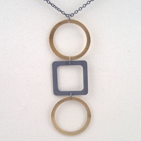 Tic Tac Toe Necklace in Brass and Oxidized Silver