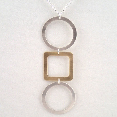 Tic Tac Toe Necklace in Silver and Brass