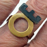 Corona Ring in Brass and Oxidized Silver