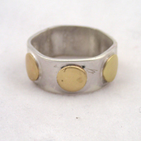 Brass and Silver Rivet Ring