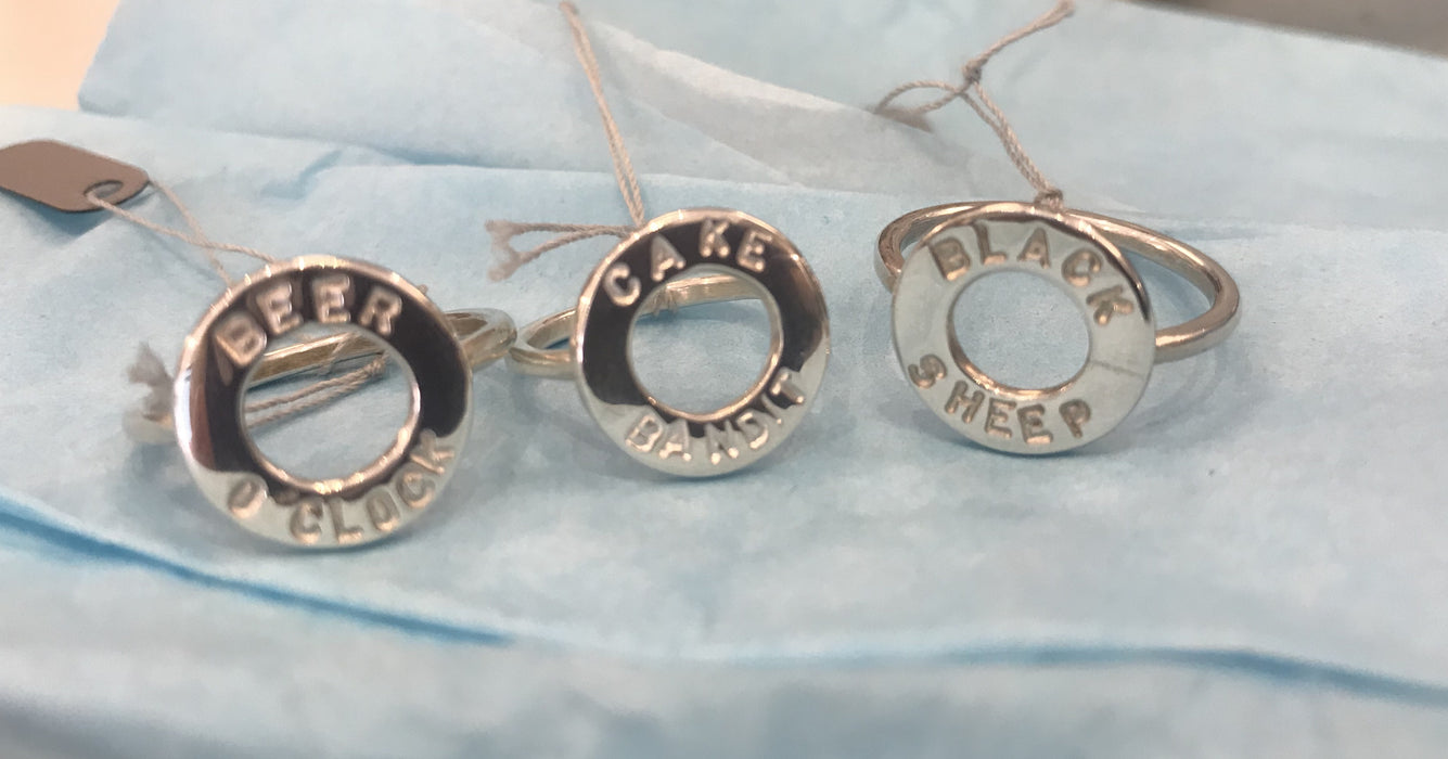 silver text rings