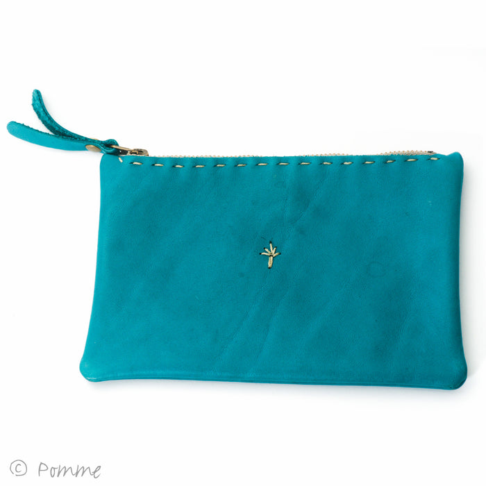 Leather handstitched pouch m/l