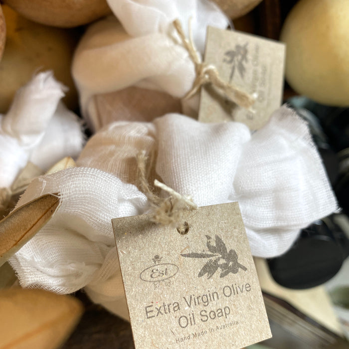 Muslin wrapped olive oil soap ball