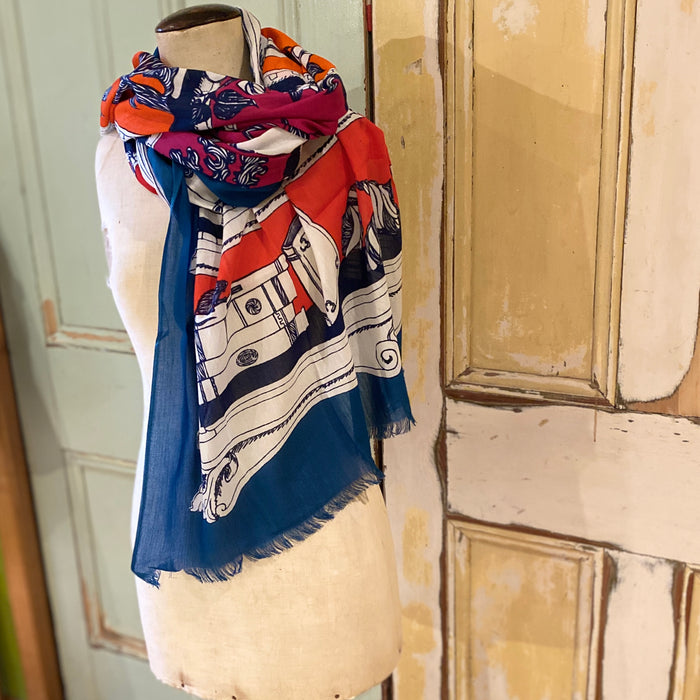 Fine cotton scarf in royal blue and deep red