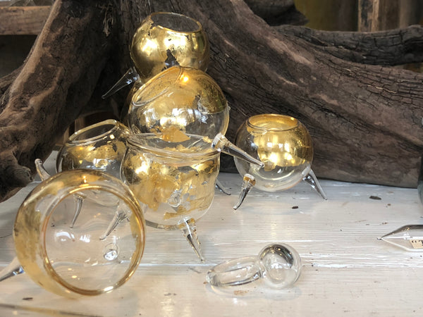 Tiny gold leaf glass vessels