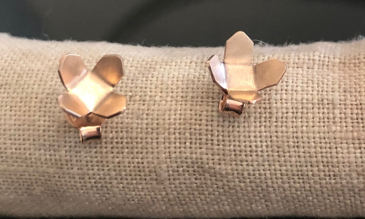 Rose gold urban flower studs