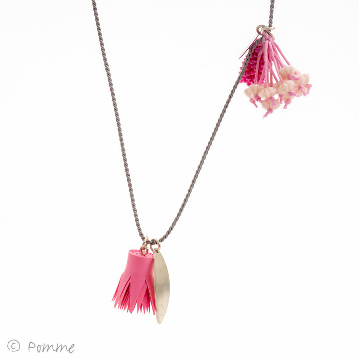 Flower charm necklace on silk