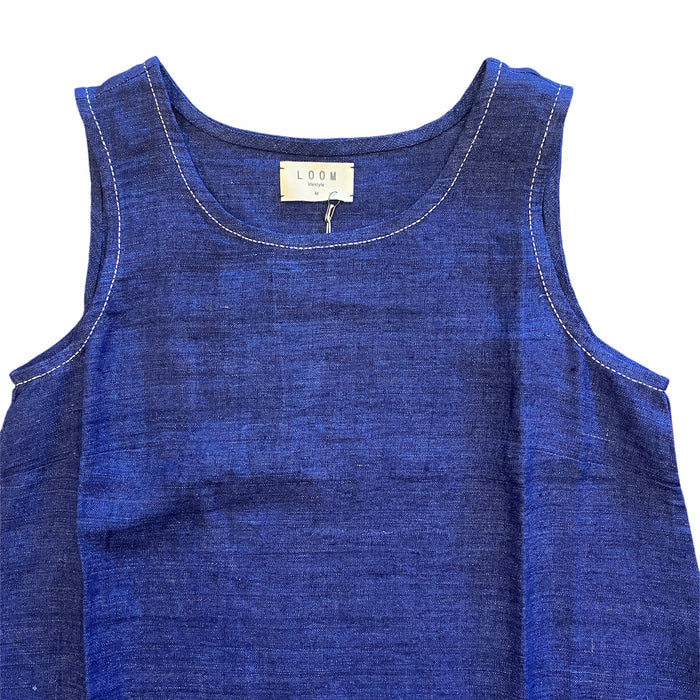 Indigo sleeveless linen dress