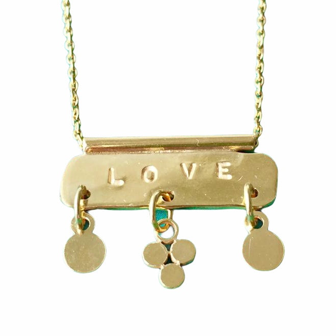 Gold plated Love bar pendant