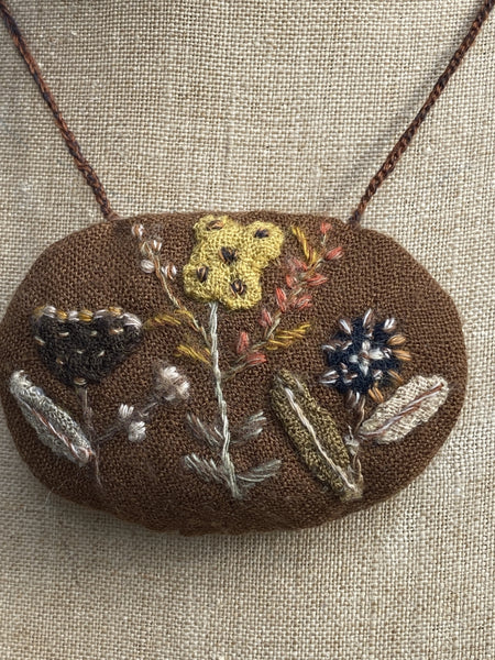 Oval embroidered pouch necklace #12