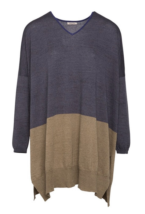V neck wool & silk knit