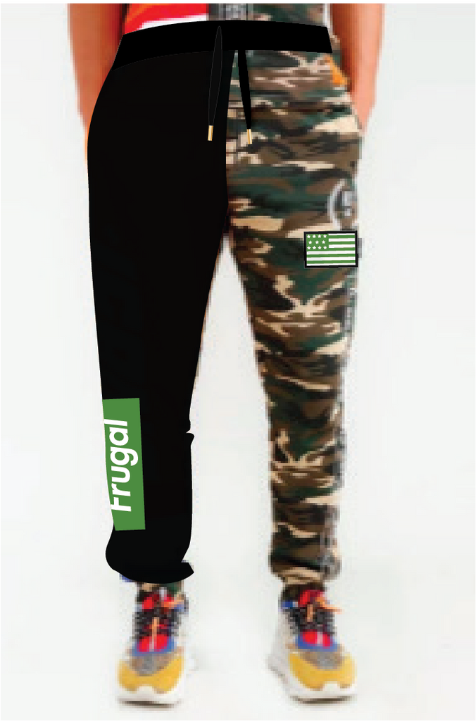 Frugal Logo & Flag Patch - Camo/Black Joggers
