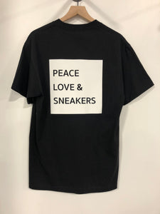Peace Love & Sneakers T-Shirt - Black x White Ink
