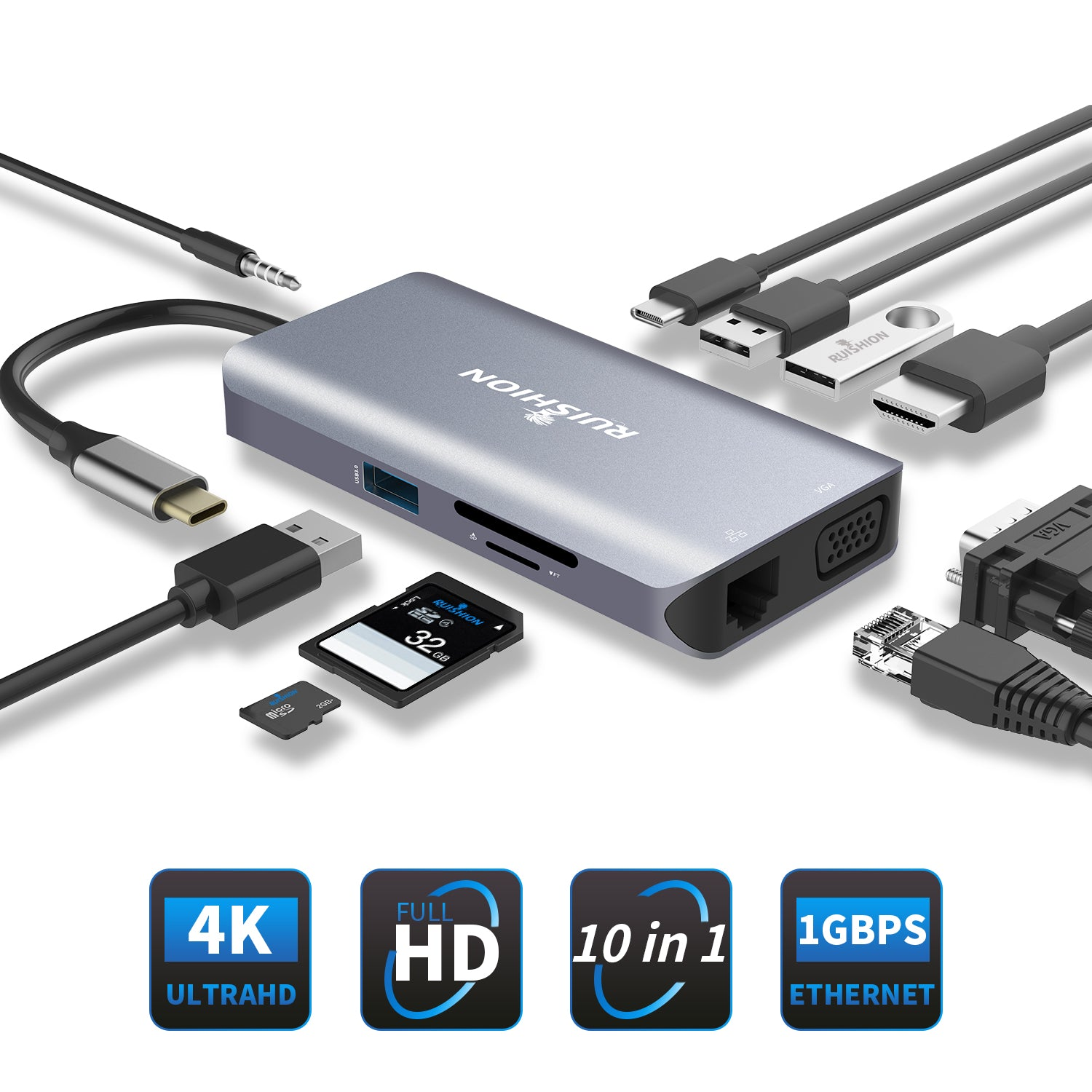 Type-C USB C To 4K HDMI USB 3.0 2.0 SD TF Card Reader PD Hub Adapter For Macbook