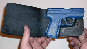Wallet style top covered back pocket holster for licensed concealed weapon carry of Kahr PM45