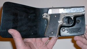 Wallet style top covered back pocket holster for licensed concealed weapon Colt Mustang Pocketlite