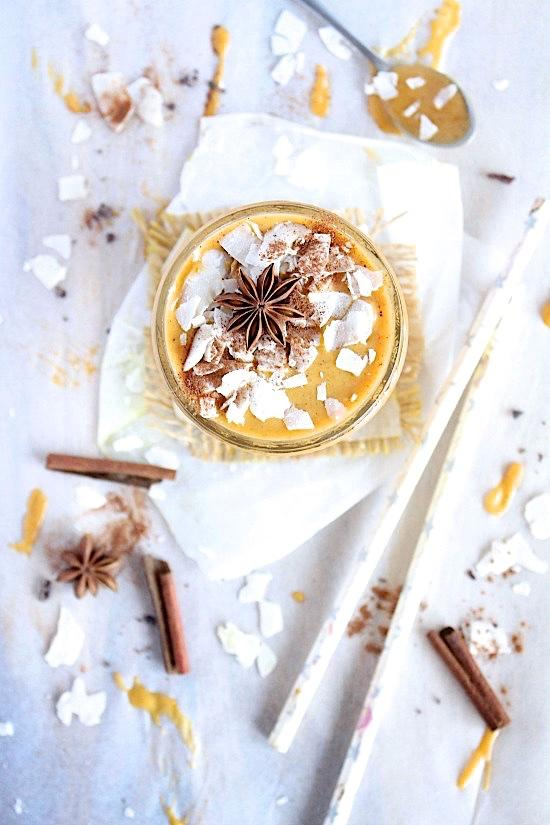 banana free pumpkin pie smoothie enriched with bone broth. Gluten-free, paleo and keto friendly.