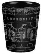 Black Matte Locomotive Schematic Shot Glass