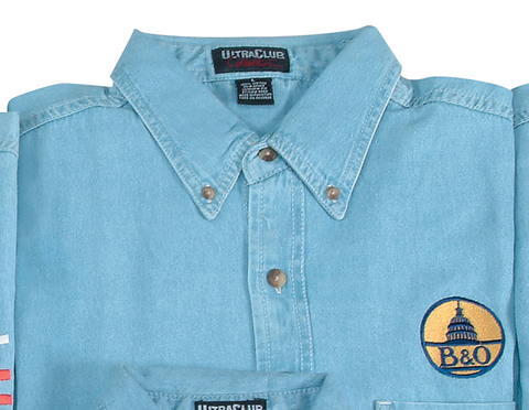 B & O Embroidered Logo Denim Shirt